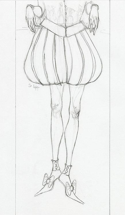 Whimsical Renaissance Legs Original Drawing