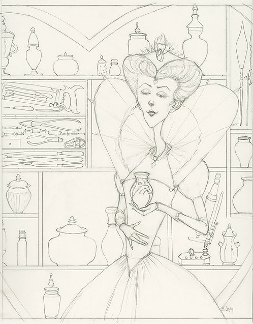 Sinister Renaissance Lady with Heart Original Drawing