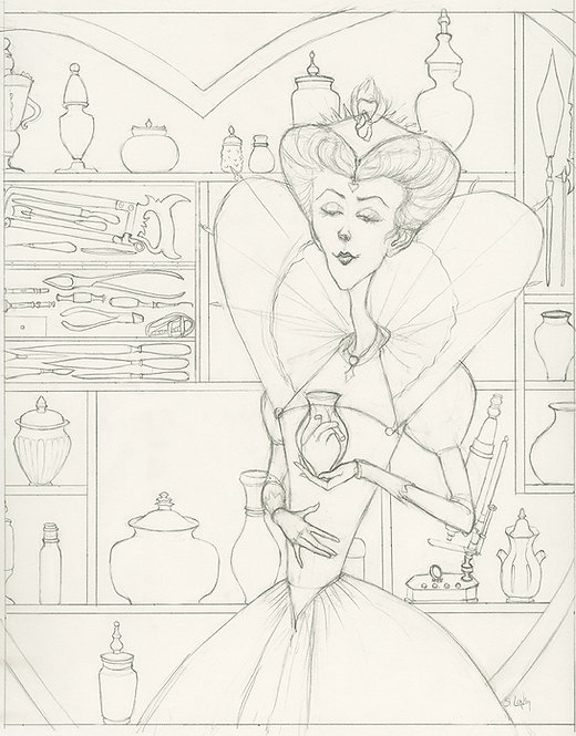 """""""Queen of Hearts"""" Original Drawing by Samantha Long"""