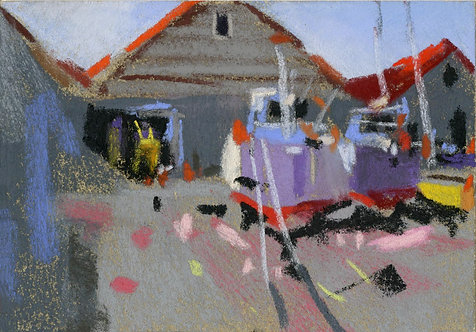 Shipyard with Boats Pastel Painting Study