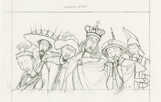 """""""Slumbering Nations"""" Original Drawing by Samantha Long"""
