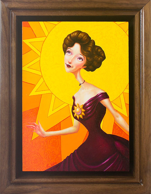 Whimsical Edwardian Lady with Sun Original Oil Painting in Custom Walnut Frame