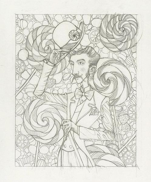 """The Candy Man"" Original Drawing by Samantha Long"