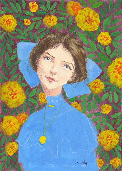 Whimsical Girl Portrait with Marigolds