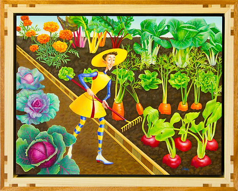 """""""Tend thy Garden"""" Original Whimsical Framed Painting"""