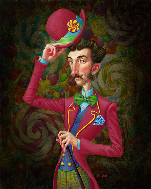 Whimsical Candy Man Portrait Original Oil Painting by Samantha Long