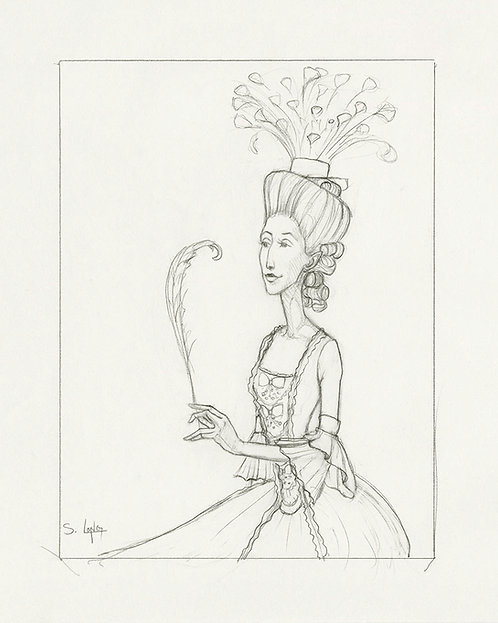 Whimsical Lady with Feather Original Line Drawing