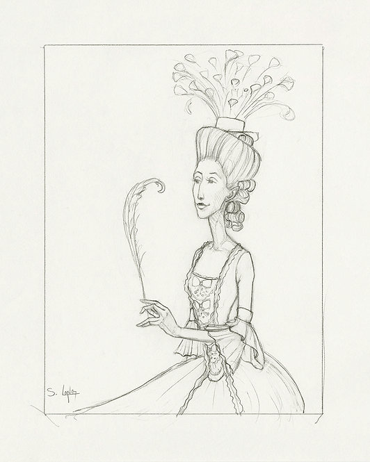 """""""Another Feather in her Cap"""" Original Line Drawing by Samantha Long"""