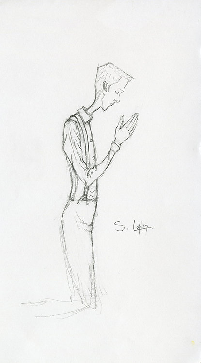 Study of Joseph Smith Praying Original Drawing