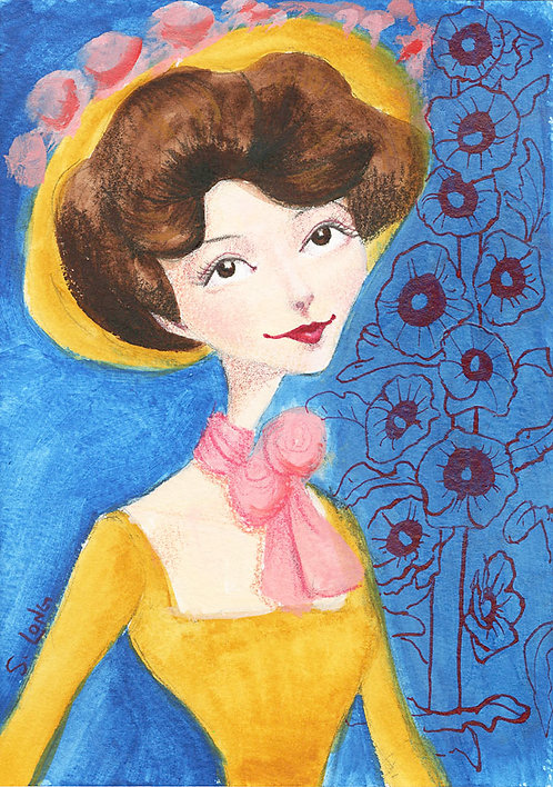 Whimsical Edwardian Lady with Flowers Original Watercolor Sketch