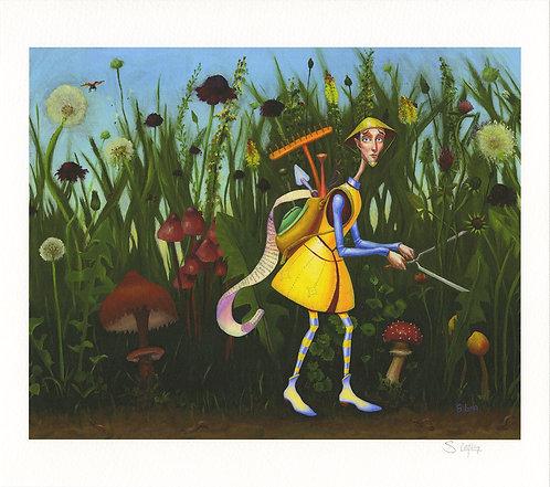Whimsical Gardener in his Weed Garden Giclée Print