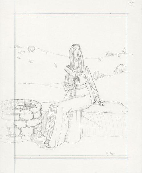 """""""Hagar at the Well"""" Original Drawing"""