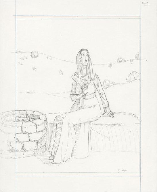 """""""Hagar at the Well"""" Original Drawing by Samantha Long"""