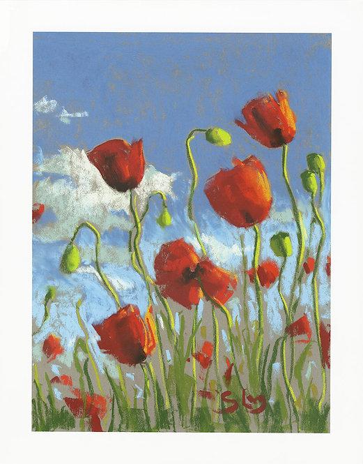 Poppy Field Pastel Painting Giclée Print
