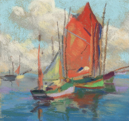 Boats on Ocean with Clouds Pastel Painting Study