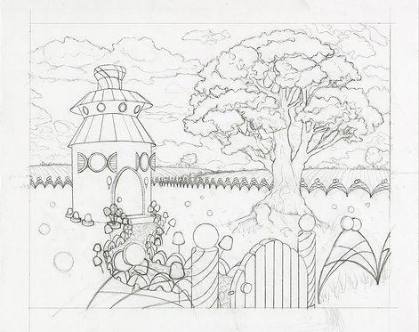 """Peppermint Cottage"" Whimsical Original Drawing"