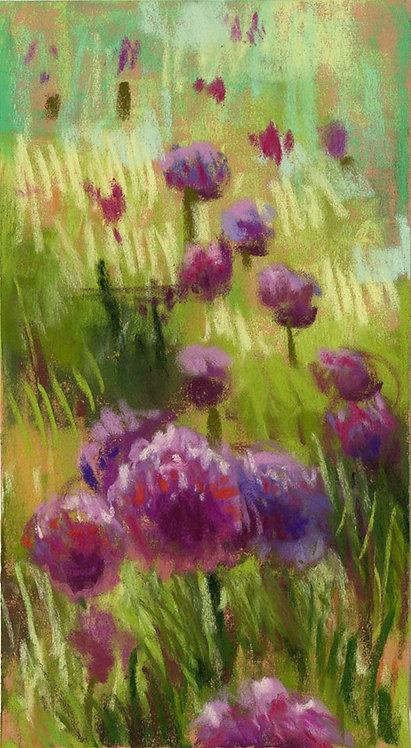 Purple Wildflower Field Pastel Painting Study