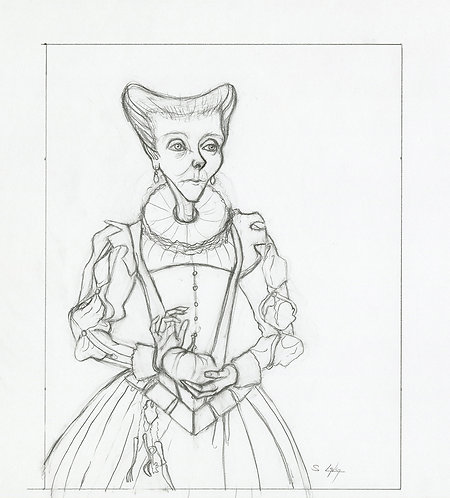 Whimsical Renaissance Lady with Pumpkin Original Drawing