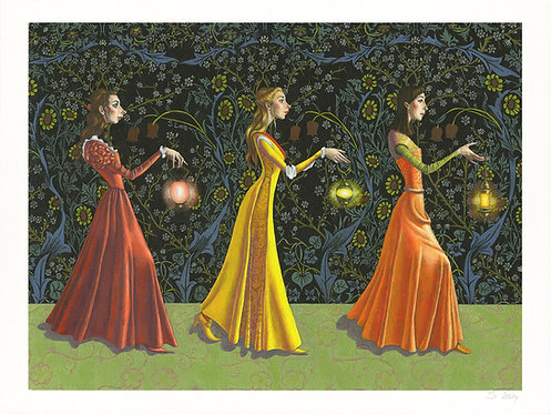 Procession of Women with Lanterns Giclée Print