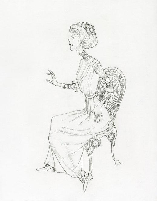 Edwardian Lady Original Drawing by Samantha Long