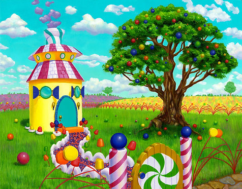 Whimsical Candy Landscape Original Oil Painting by Samantha Long