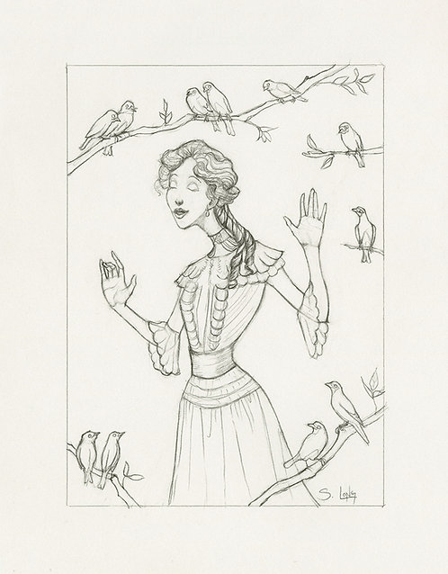 Whimsical Edwardian Lady with Birds Original Line Drawing