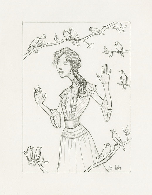 """""""Music in the Soul"""" Original Line Drawing by Samantha Long"""