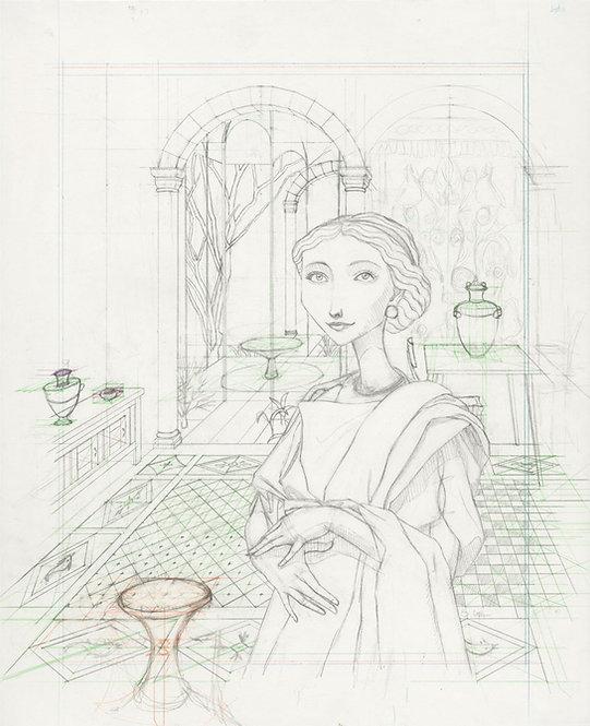 """Seller of Purple"" Original Drawing by Samantha Long"