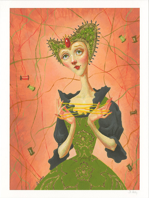 Whimsical Lady with Thread Giclée Print