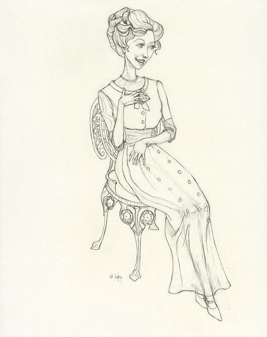 """Edwardian Lady 2"" Original Drawing by Samantha Long"