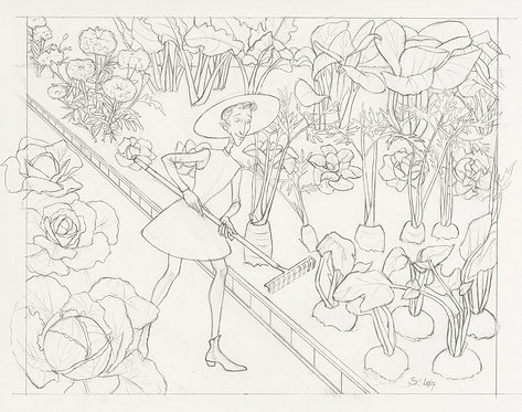 """Tend thy Garden"" Whimsical Original Drawing"