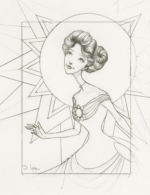 Whimsical Edwardian Lady with Sun Original Line Drawing