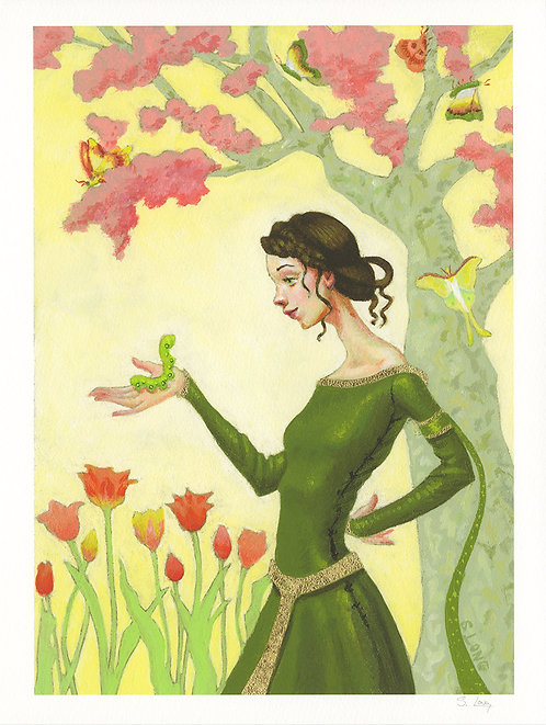 Whimsical Lady with Caterpillar & Tulips Giclée Print