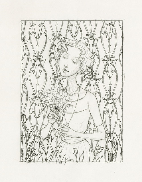 Whimsical Edwardian Lady with Flowers Original Line Drawing