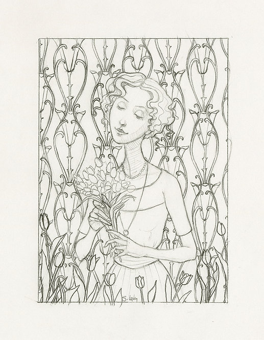 """""""Springtime in the Soul"""" Original Line Drawing by Samantha Long"""