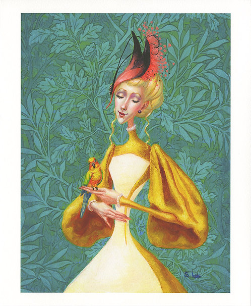 Whimsical Portrait of Lady with Parrot Giclée Print