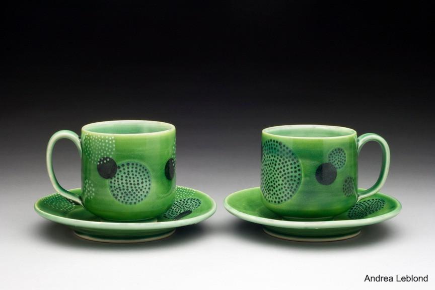 Polka Dot Mug and Saucer Set