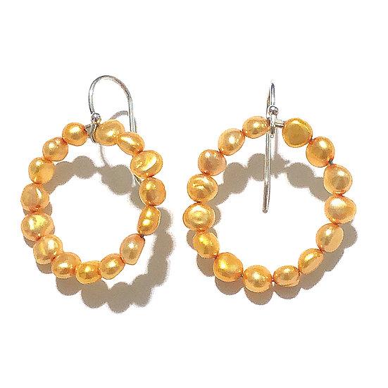 Gold pearl hoop dangles