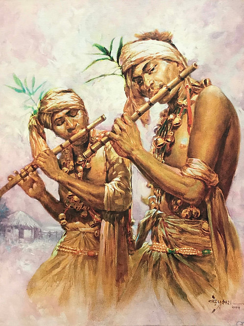 Indian Art | Art | Canvas Art | Boys Playing Flute