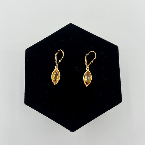 Simple Gold Marquise Cut Earrings