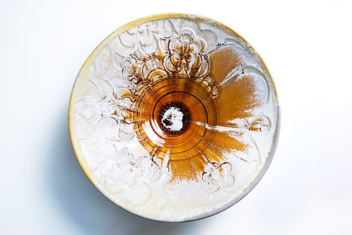 Crystal Amber Carved Floral Serving Bowl