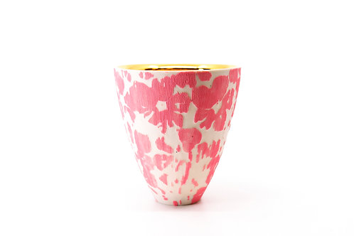 Pink Etched Floral Cup