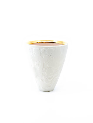Pink on White Etched Floral Cup