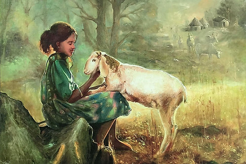 Indian Art | Art | Canvas Art | Girl with a Sheep