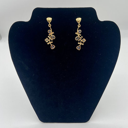 Multi-stone Gold Edge Earrings