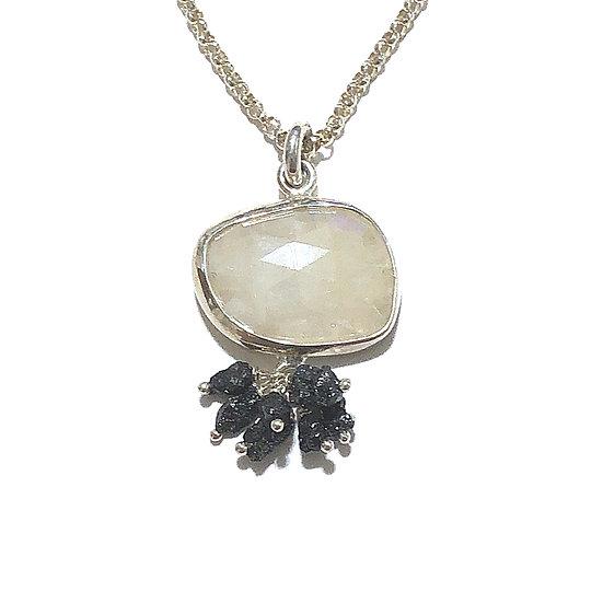Sillimanite & black diamond pendant