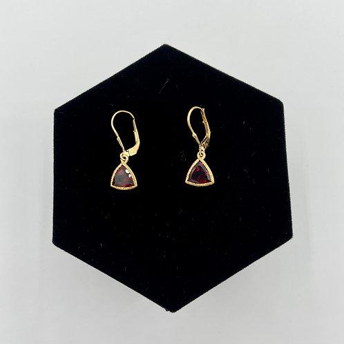 Simple Gold Trillion Cut Earrings