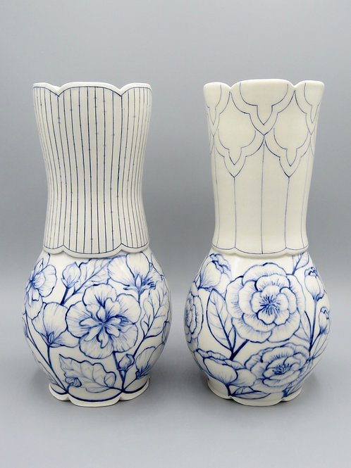 Peony and Rose of Sharon Vase