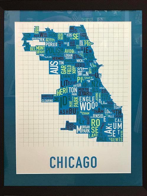 Map | Art | Poster | Framed At | Chicago Map