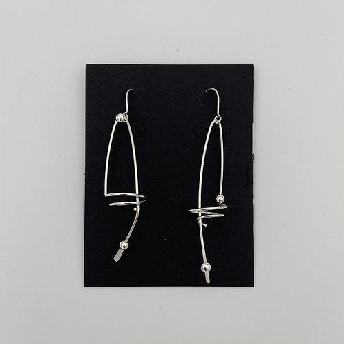 Long Swirl Beaded Earrings